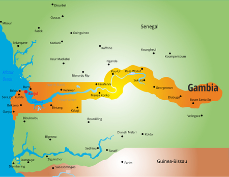 gambia: color map of Gambia country Illustration