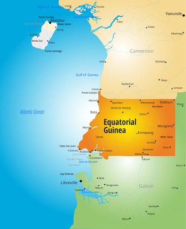 equatorial: color map of Equatorial Guinea country