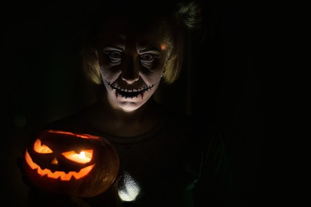 ghost woman: Horrible girl with scary mouth and eyes, halloween theme Stock Photo