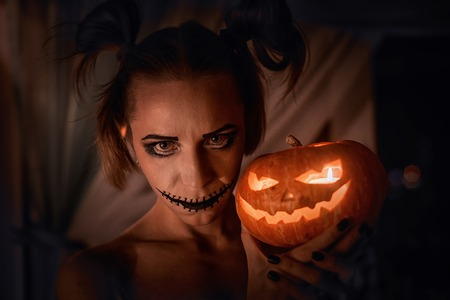 horrible: Horrible girl with scary mouth and eyes, halloween theme Stock Photo