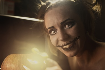 horrible: Horrible girl with scary mouth and eyes Stock Photo