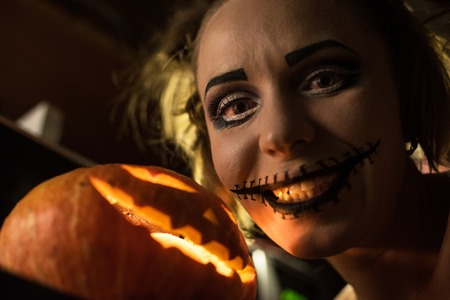 gothic girl: Horrible girl with scary mouth and eyes Stock Photo