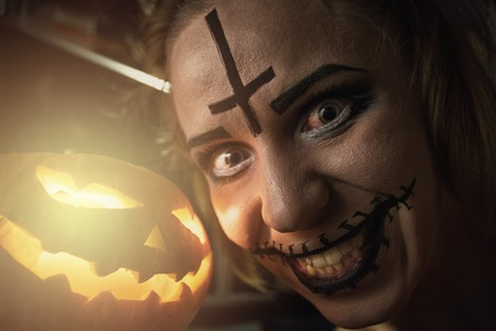 beautiful vampire: Horrible girl with scary mouth and eyes Stock Photo