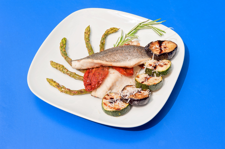 seabass: Seabass fillet with grilled vegetables Stock Photo