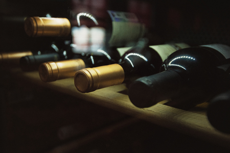 pile: Wine cellar with old riesling wine