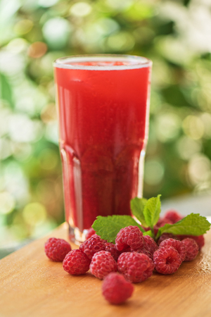nonalcoholic: fruit non-alcoholic drink with raspberries