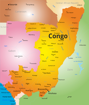 zaire: Vector  color map of Congo country