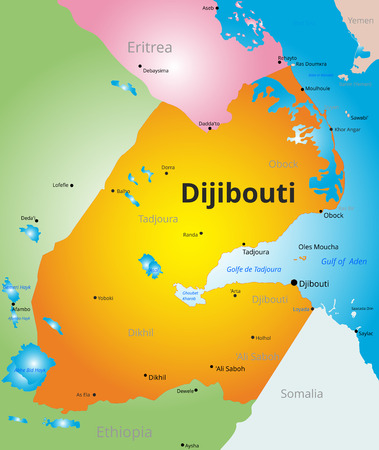 gulf: color map of Djibouti country Illustration