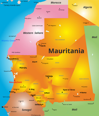 Vector color map of Mauritania country Illustration