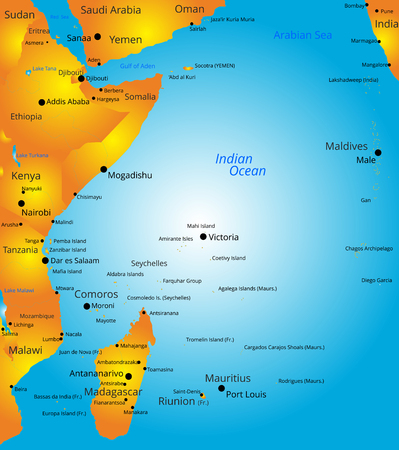 maldives island: Vector color map of east Africa region