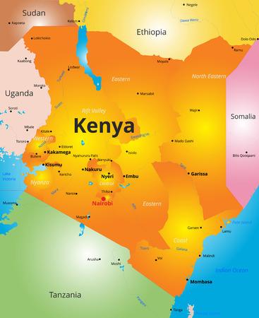 Vector colore mappa del Kenya paese