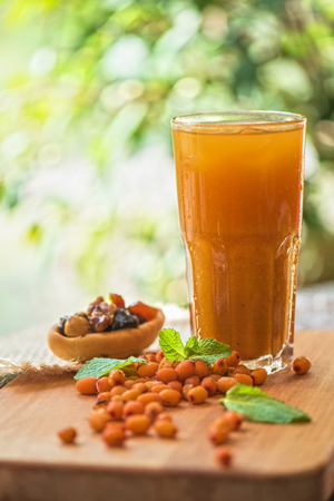 buckthorn: fruit non-alcoholic drink with sea buckthorn