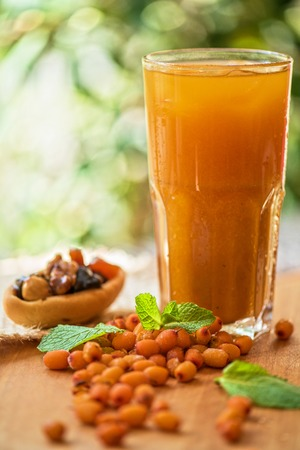 nonalcoholic: fruit non-alcoholic drink with sea buckthorn