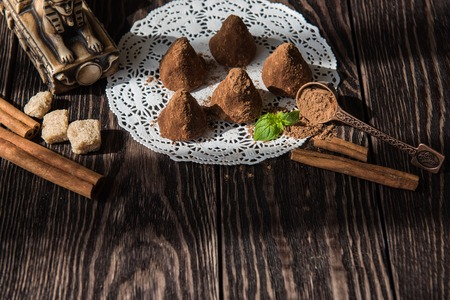 nicety: Homemade pyramid shape chocolate candies Stock Photo