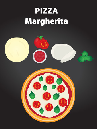 margherita: Pizza margherita with ingredients on the black