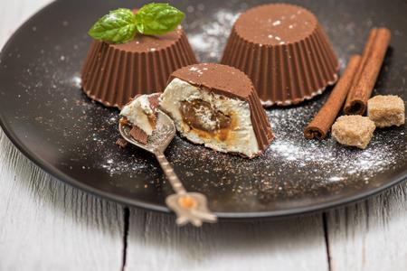 refreshment: Homemade dessert from cream and chocolate