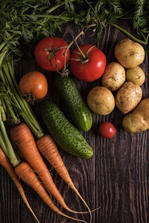 grown up: Close up of various freshly grown raw vegetables