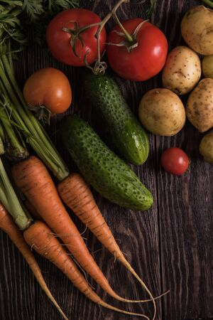 grown up: Close up of various freshly grown raw vegetables