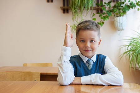 Happy schoolboy sitting at desk, first day in the school Stock Photo