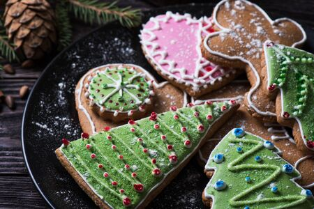 Different ginger cookies for new years and christmas on plate, closeup