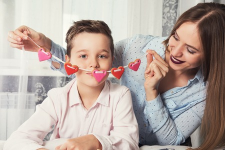 kiss biscuits: Happy Valentines or mother day Stock Photo