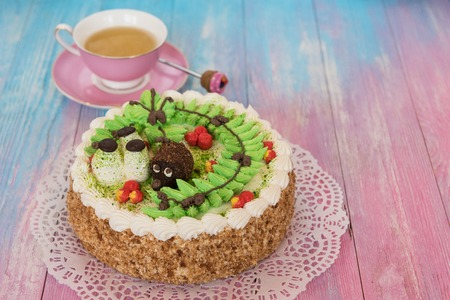 cakes on color background Stock Photo