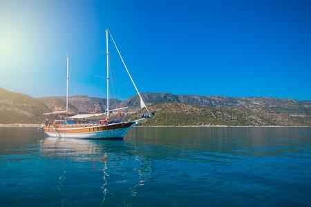 the sunken: yacht on bay