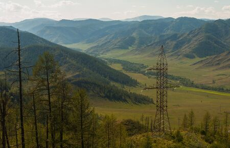 curve road: Electric pillar in the mountain Stock Photo