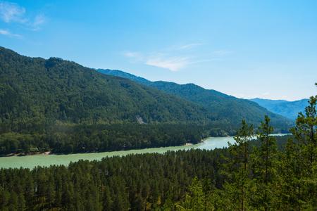 Beauty day in mountain on river Katun