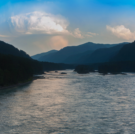 Evening in mountain on river Katun