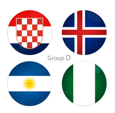 Football Cup. Group D countries Stock Photo