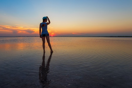 Beauty sunset on salty lake in Altay, Siberia, Russia Stock Photo