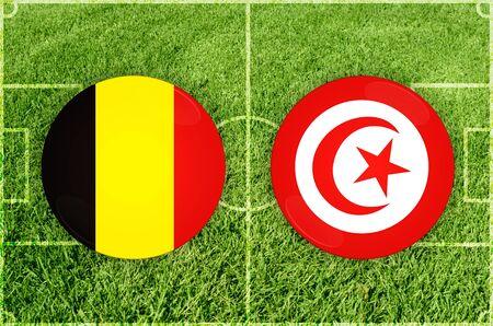 Illustration for Football match Belgium vs Tunisia Stock Photo
