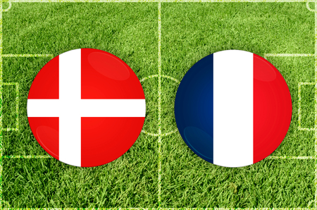 Illustration for Football match Denmark vs France Stock Photo