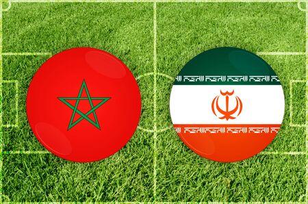 Illustration for Football match Marocco vs Iran Stock Photo