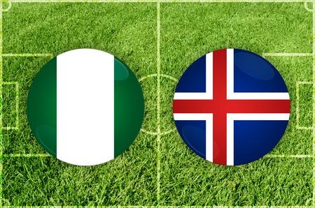 Illustration for Football match Nigeria vs Iceland Stock Photo
