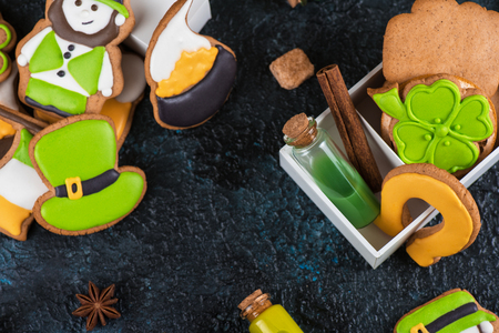 Homemade cookies for Patricks day on dark concrete background Stock Photo
