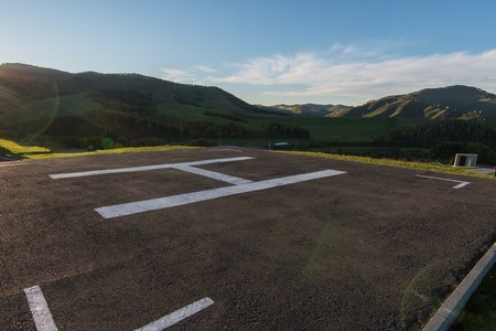Helicopter pad on Altai mountains in summer season.