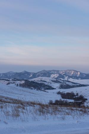 Altai mountains winte road through mountains pass