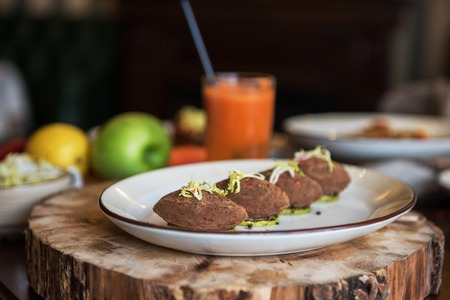 Healthy vegeterian food. Spring vitamin dieting food. Pate from red beans.