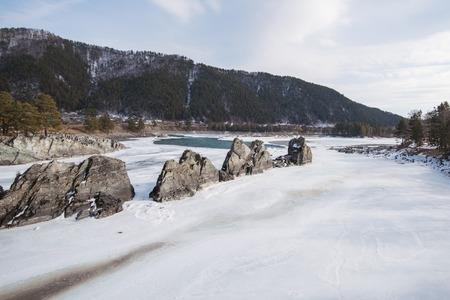 Fast mountain river Katun in Altay, Siberia, Russia.