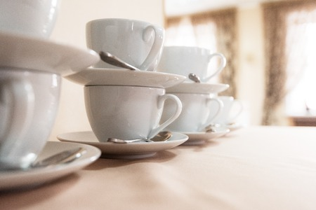 Many cups on table, concept of catering, food service or banquet service