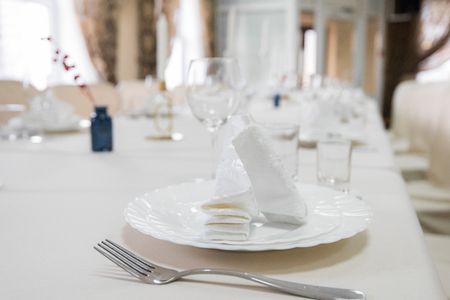 Close up detail of served table Imagens