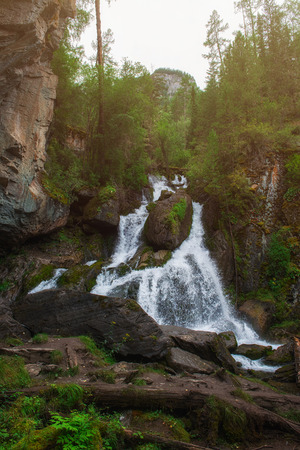 Waterfall in Altai Mountains territory, West Siberia, Russia