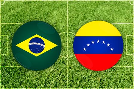 Illustration for Football match Brazil vs Venezuela Imagens