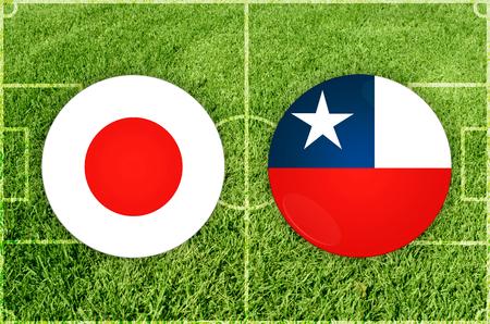 Illustration for Football match Japan vs Chile Imagens