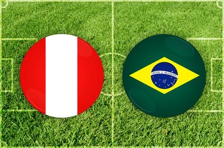Illustration for Football match Peru vs Brazil Imagens