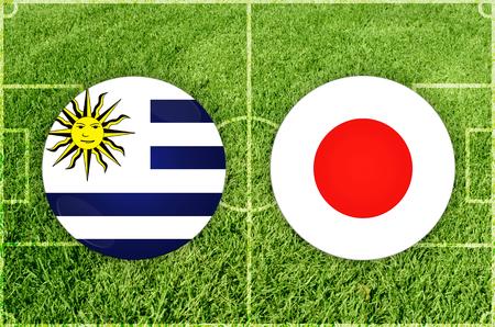 Illustration for Football match Uruguay vs Japan Imagens