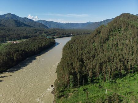Aerial view of Katun river, in Altai mountains Stok Fotoğraf