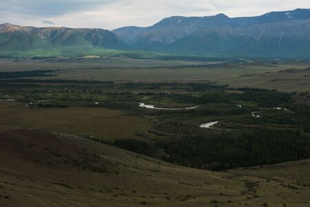 Autumn in Kurai steppe and North-Chui ridge of Altai mountains, Russia.